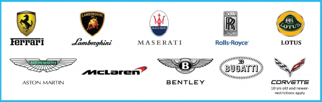 Brands available for exotic car loans